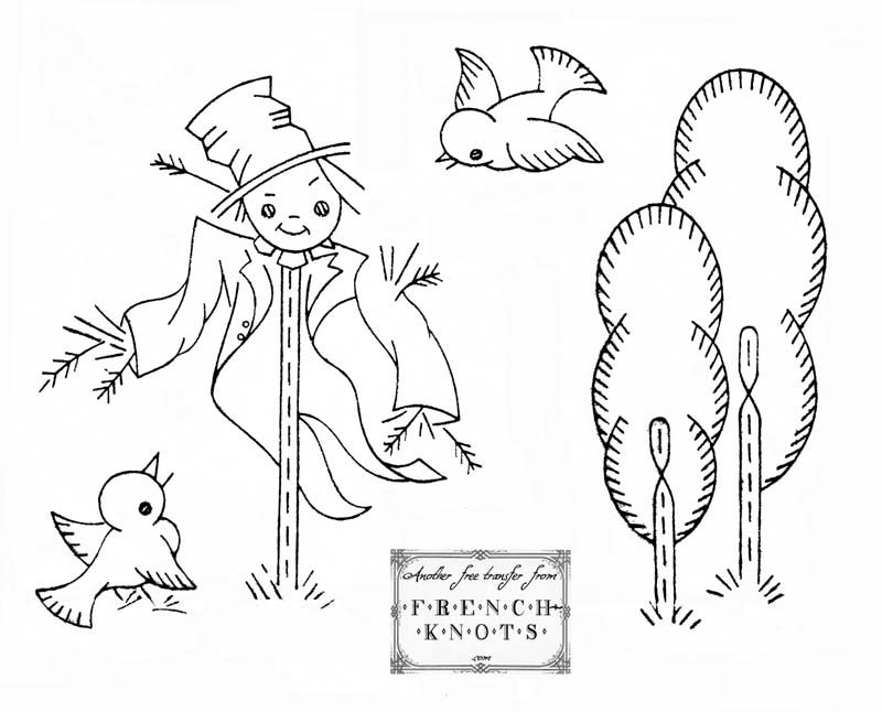 Vintage Scarecrow Embroidery Pattern