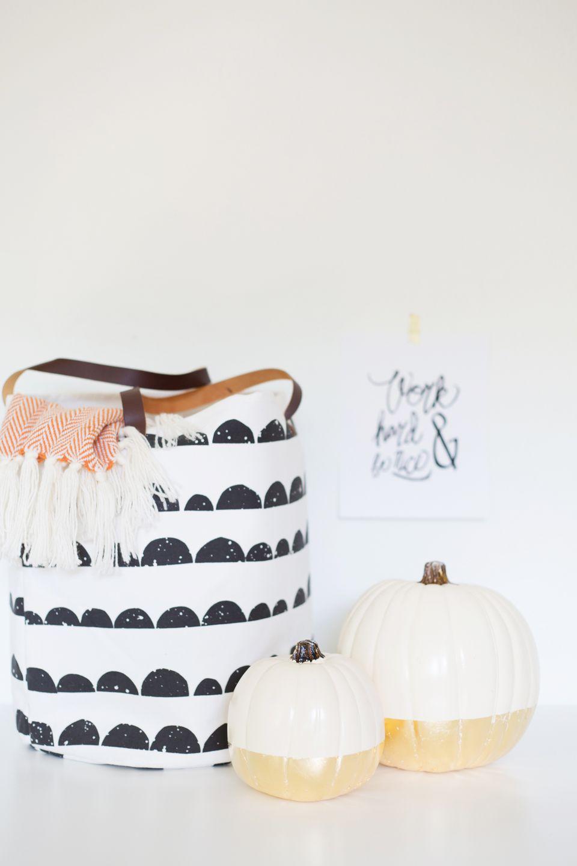 DIY Gold Dipped Pumpkins