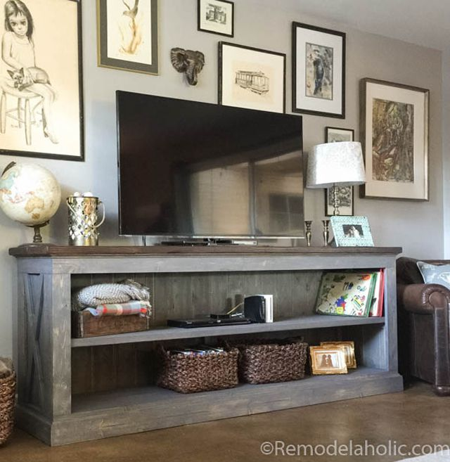 9 free tv stand plans you can diy right now - Media consoles for small spaces plan ...