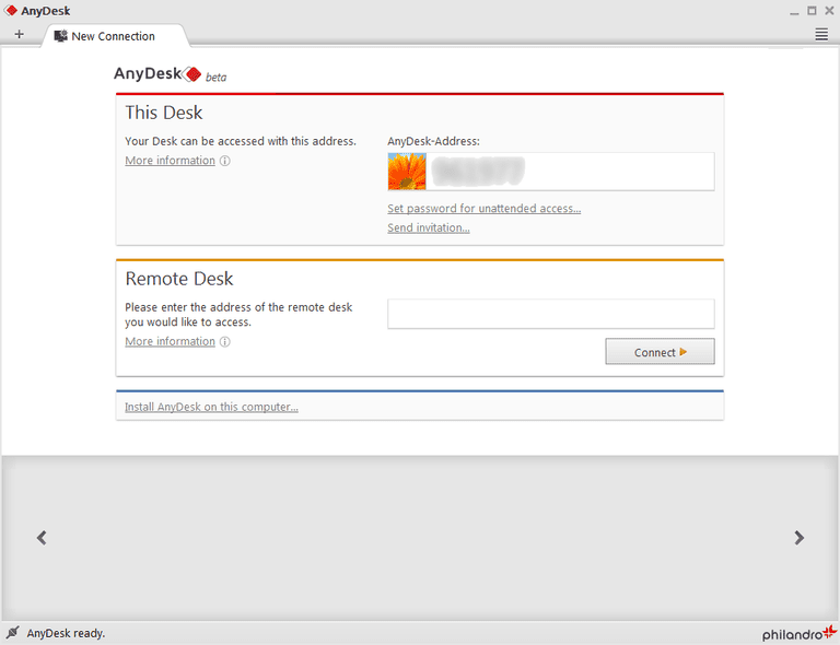 Screenshot of AnyDesk v1.3.2 in Windows 7