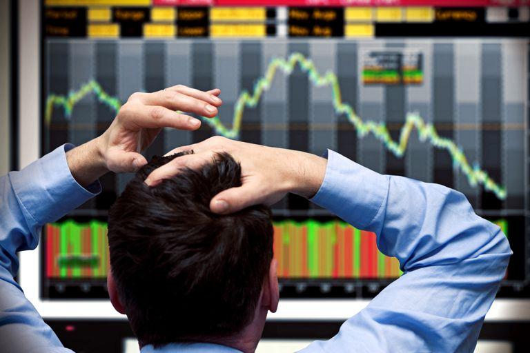 Stock market correction on a computer screen.