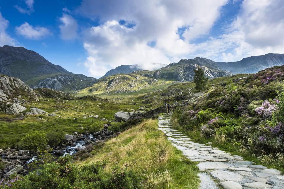 Path leading towards the Glyderau range of mountains