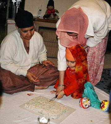 Sikh Child Birthday Celebration with Cake