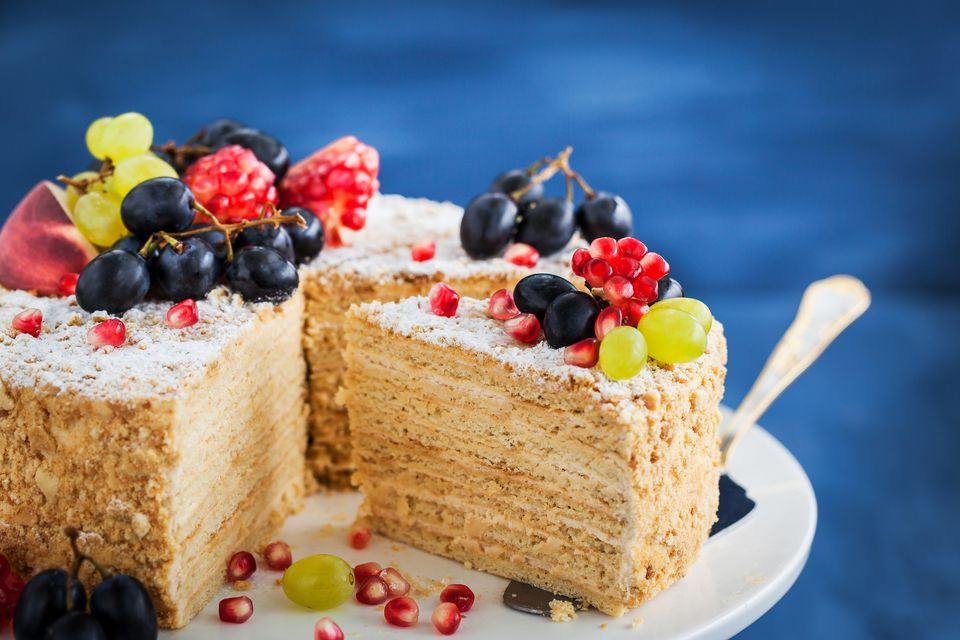 Delicious homemade honey cake on stand