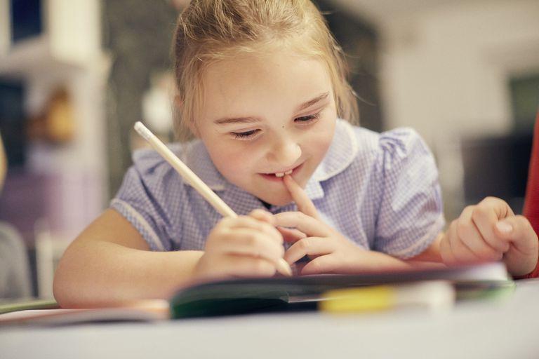 Schoolgirl doing homwork