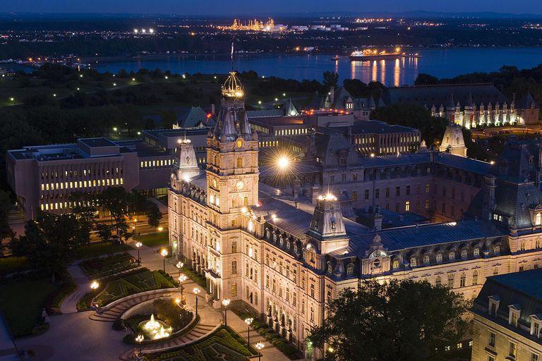 Canada, Quebec, Quebec City, Parliament Building, dusk, elevated view