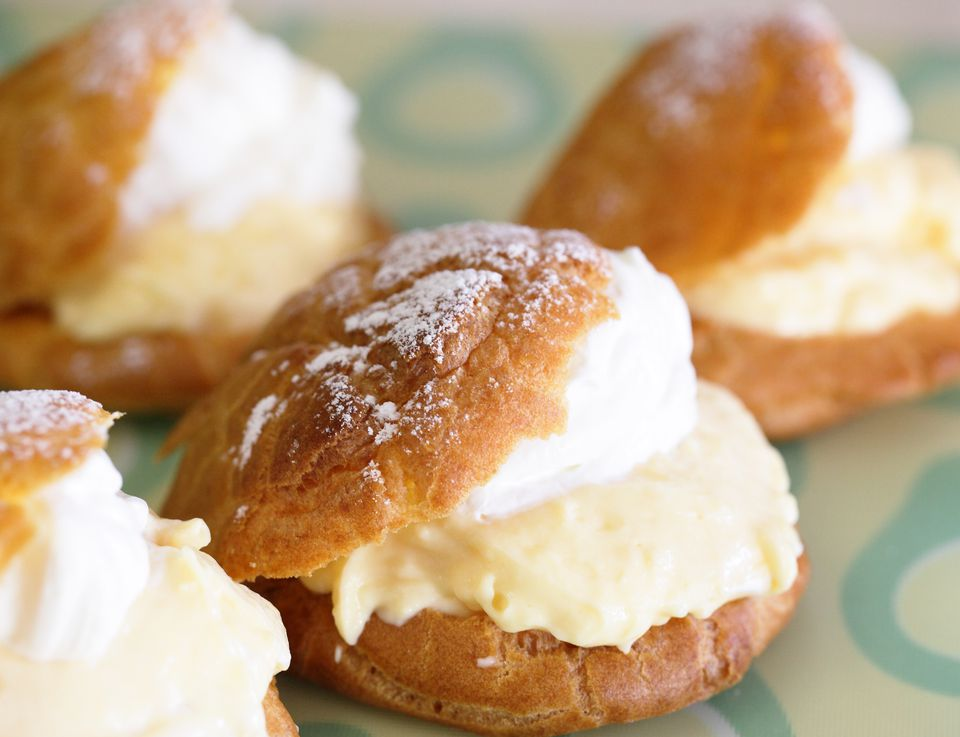 Shu cream japanese cream puff with custard filling for Asian cuisine dessert