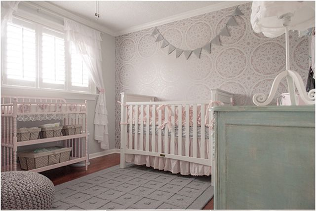 Mismatched furniture coordinated using color in a sweet Shabby Chic nursery. How to Coordinate Mismatched Nursery Furniture