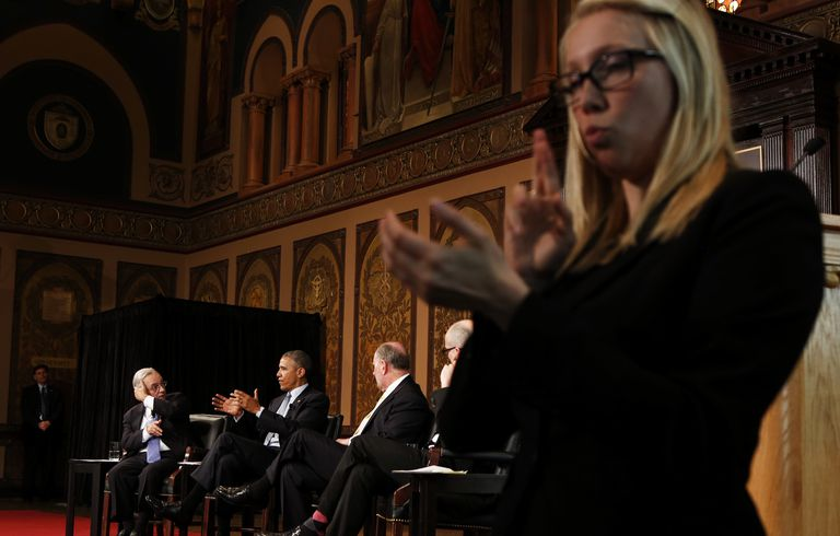 US President Barack Obama participates in a panel on overcoming poverty
