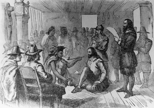 22nd March 1621, Massasoit (c.1580 - 1661) or Ousamequin, chief of the Wampanoag of Massachusetts and Rhode Island signs the earliest recorded treaty in New England with Governor John Carver (1576 - 1...