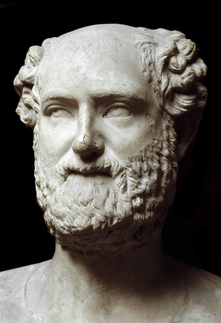 Roman marble bust of Aristophanes