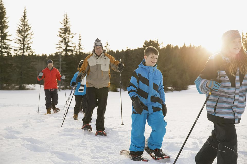 Snowshoeing family