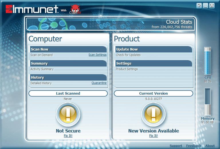 Screenshot of Immunet 5 in Windows 8