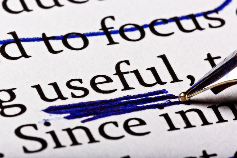The word 'useful' heavily underscored in printed document