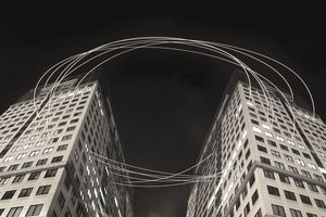 Light Trails Passing Through Buildings