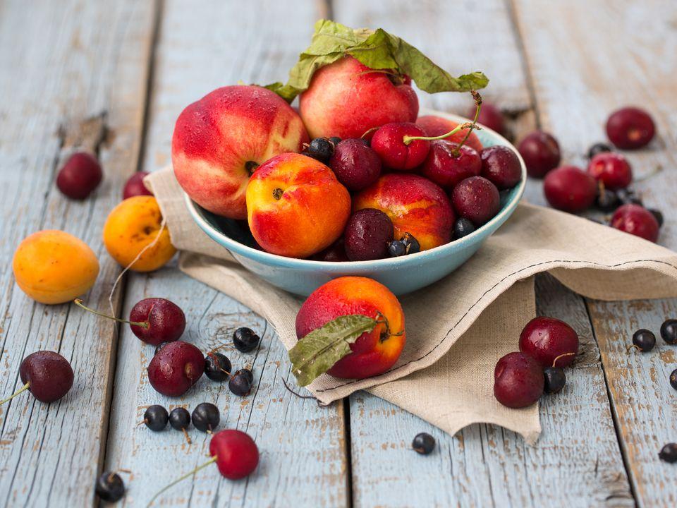 Fresh peaches and cherries