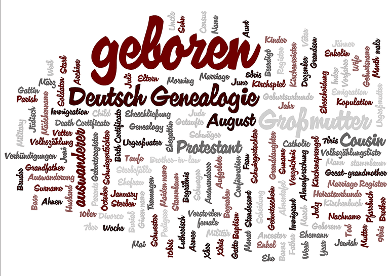 Common German genealogy words with their English equivalents