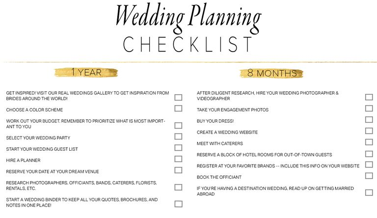 11 free printable checklists for your wedding timeline free wedding checklist from junebug weddings junglespirit Gallery