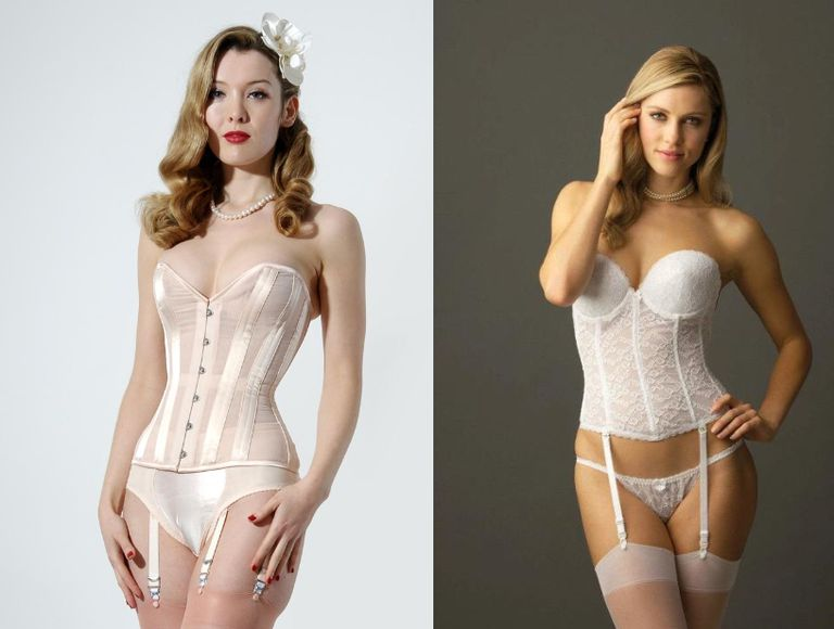 A corset by What Katie Did, and a bustier by Va Bien.
