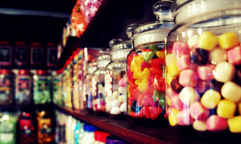 Items in a candy store.