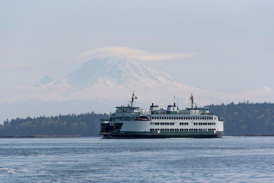 Ferry in Rich Passage with Mount Rainier in background, Puget Sound, Washington State, USA.