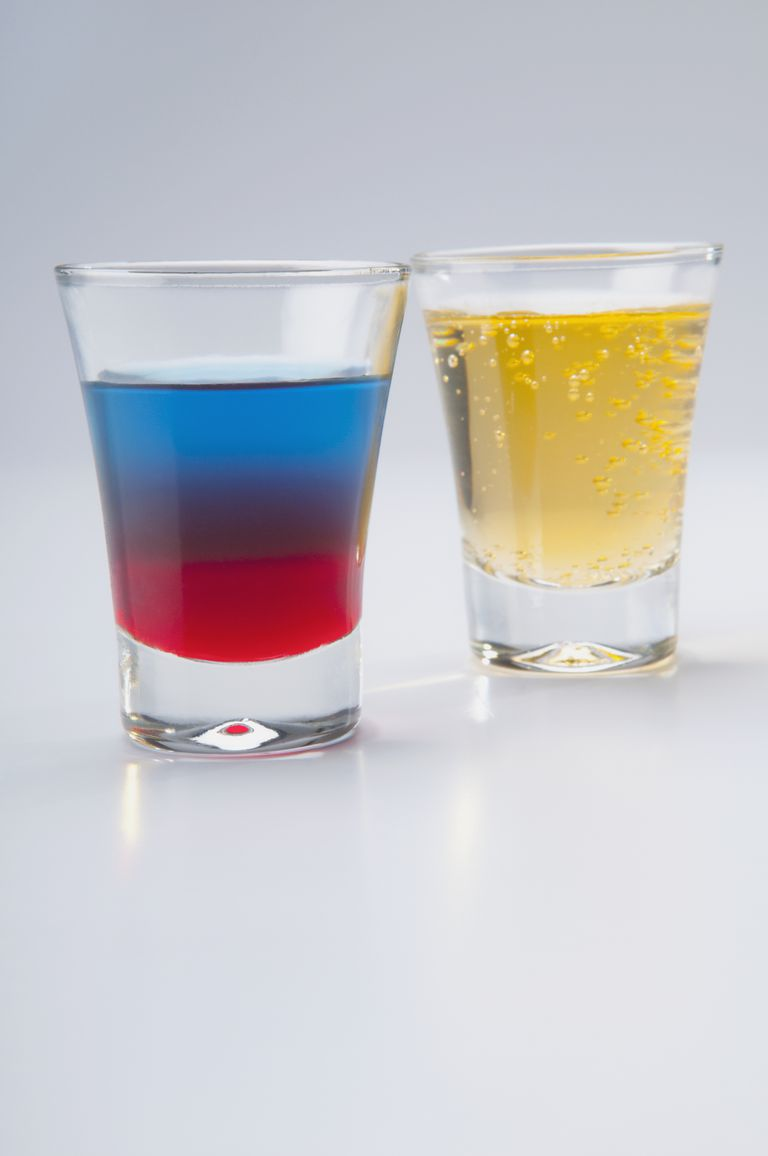 This red, white and blue shooter is a festive drink that doubles as an example of a density column.
