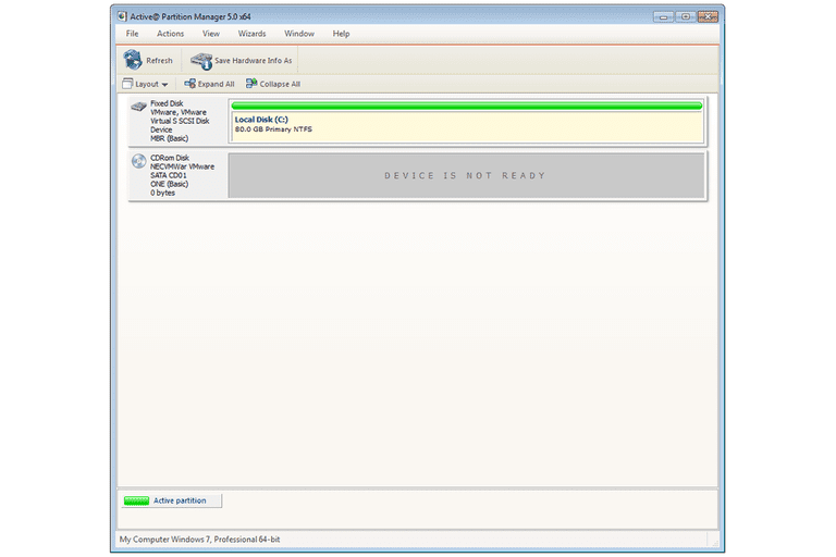 Screenshot of Active@ Partition Manager v5 in Windows 7