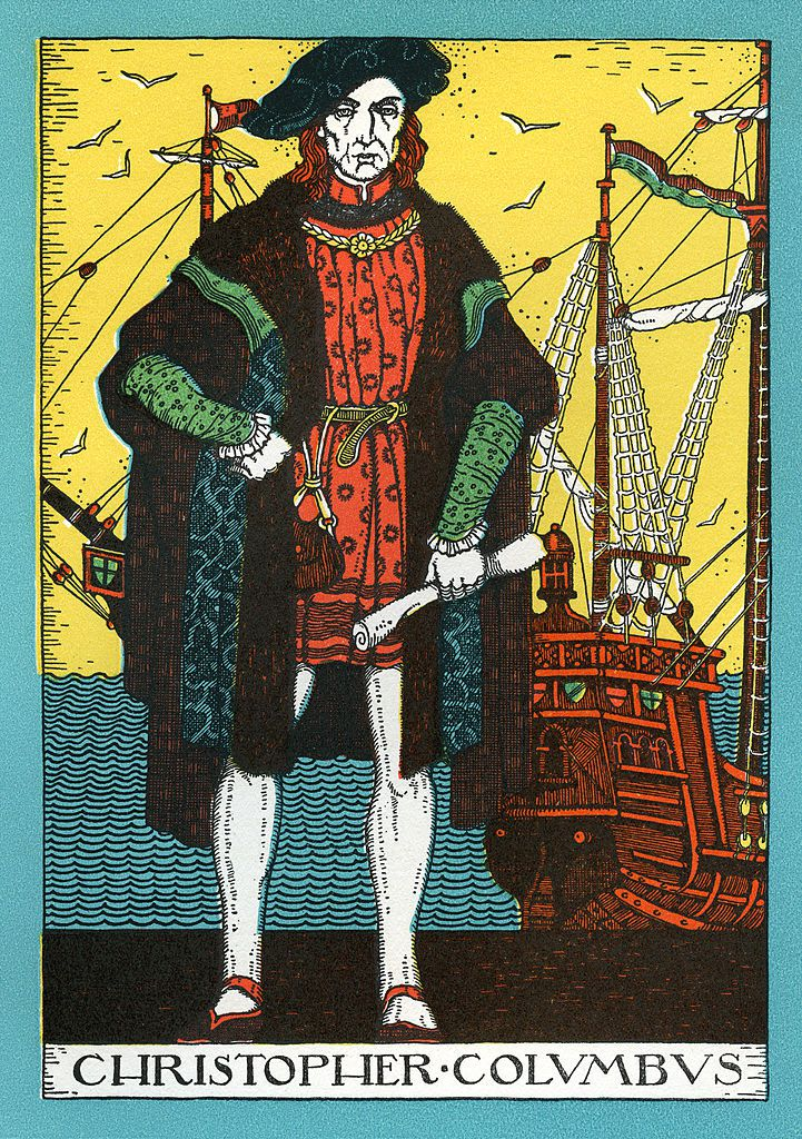 Vintage portrait of Christopher Columbus and the Santa Maria, lithograph, 1930