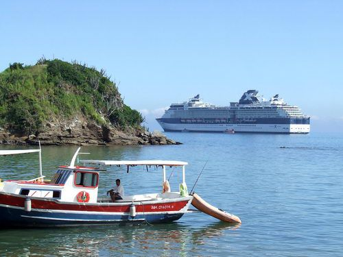Celebrity Infinity in the Harbor at Buzios Brazil