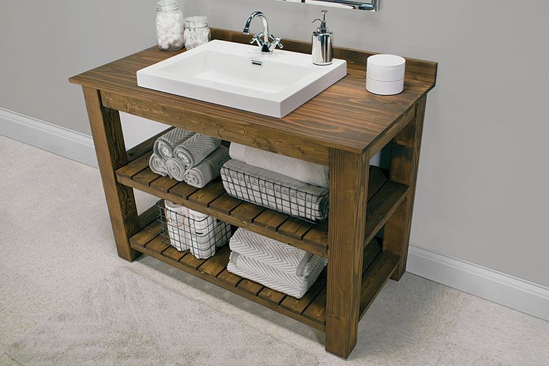11 diy bathroom vanity plans you can build today for Diy wood vanity
