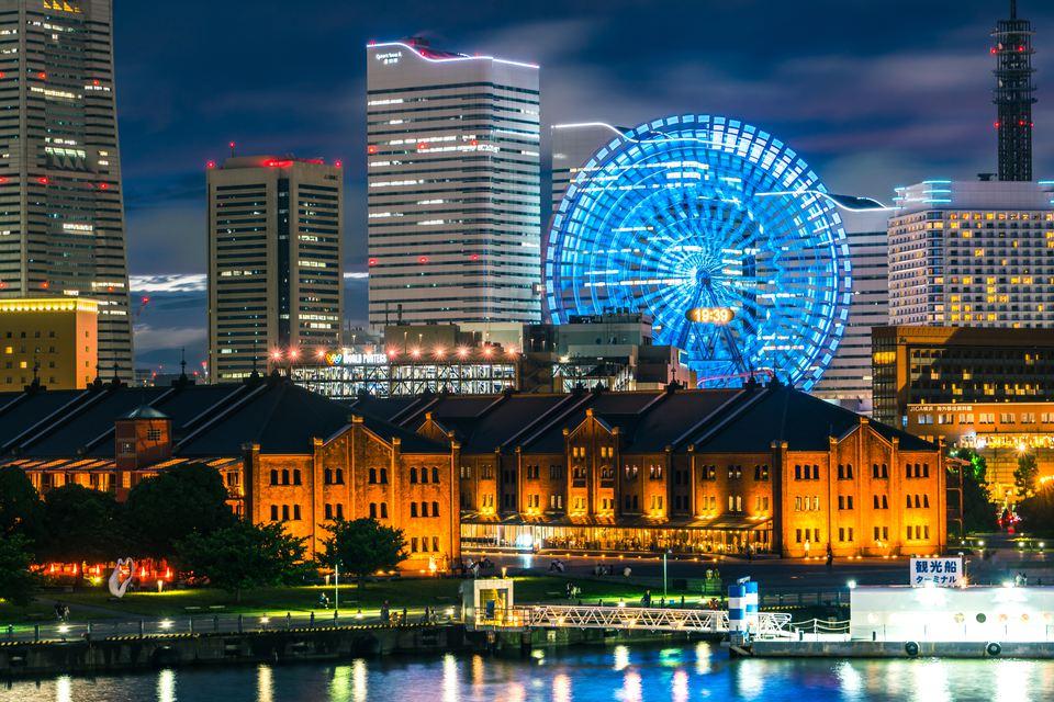 City by night at Yokohama
