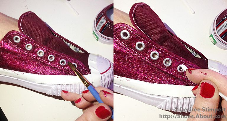Left Image Shoes Glitter Adhesive Mix Being Applied Around The Eyelets Of Sneaker Right