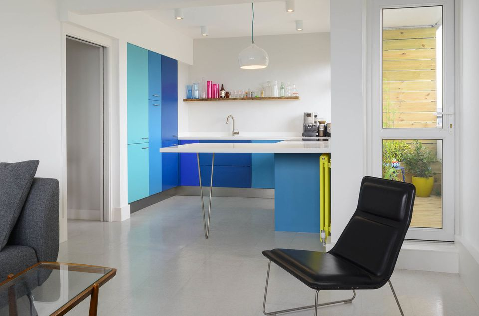 blue and acid yellow kitchen