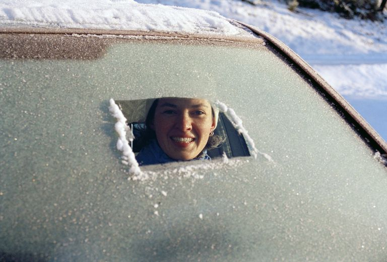 Don't drive like this! You can use common household chemicals to de-ice a frozen windshield.