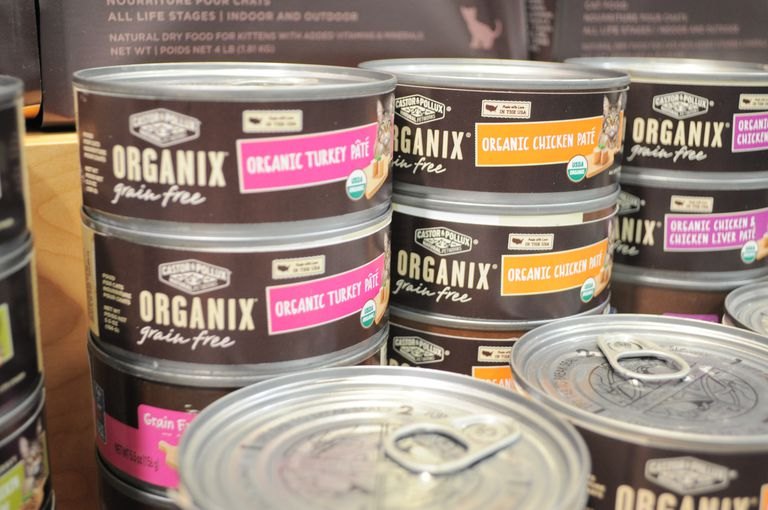 Cans of organic, grain free cat food