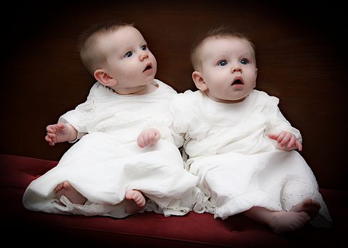 Twin Brothers in Baptism Gowns