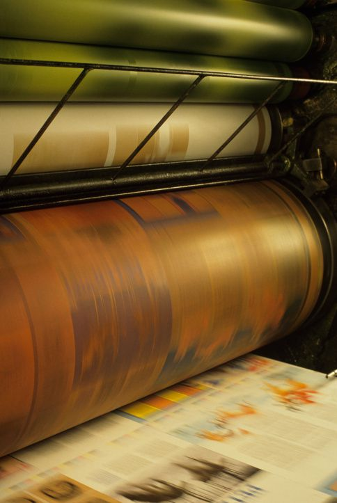 Printing, Web Press in action, four color, roll paper in press