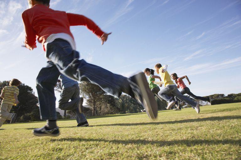 Kids running in a park