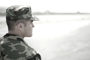 Soldier looking at horizon