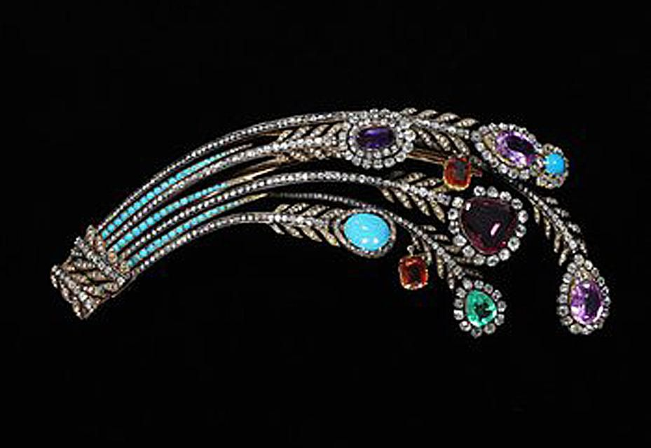 Aigrette with diamonds, turquoise and colored gemstones