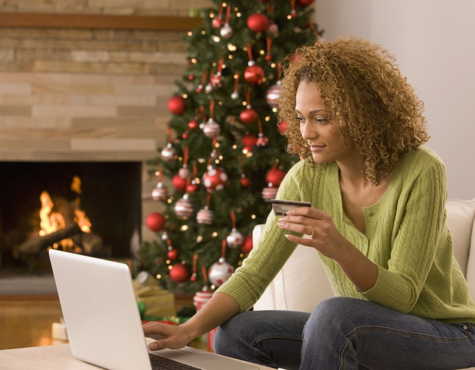 Woman holiday shopping online