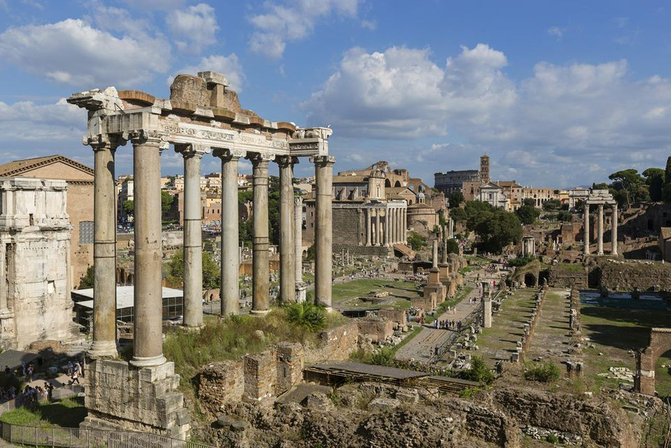 Elevated view of the Roman Forum in Rome