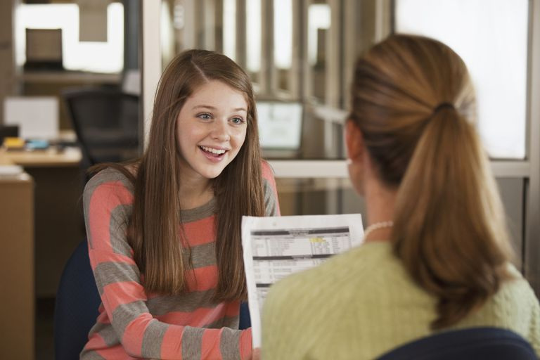 Student talking with counselor