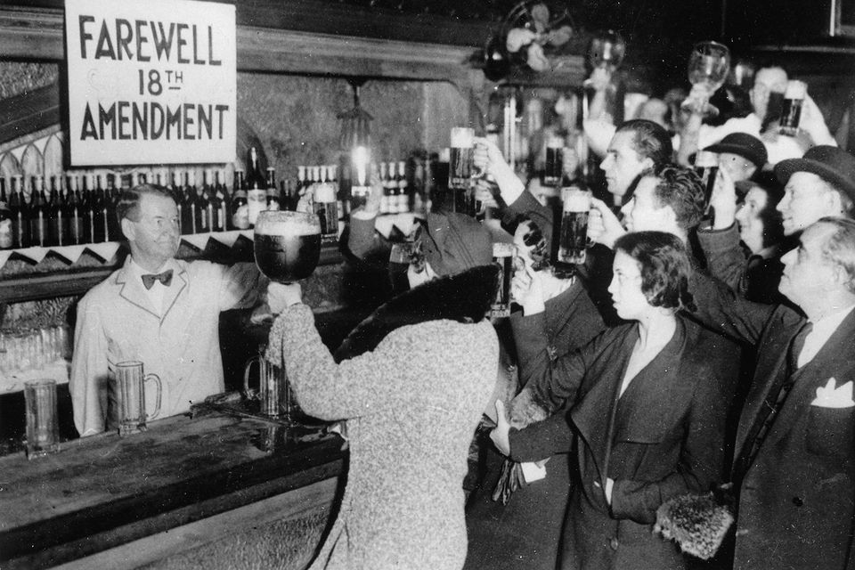 People of New York are celebrating the end of the Prohibition with beer. Photograpg. 1933 Photo by Imagno/Getty Images