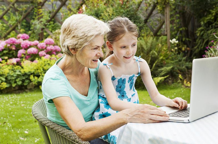 Granddaughter and grandmother on computer