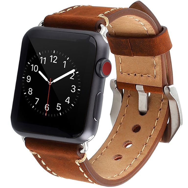 Apple Watch Band, iWatch Band Strap Premium Vintage Genuine Leather Replacement Watchband with Secure Metal Clasp Buckle for Apple Watch Sport Edition
