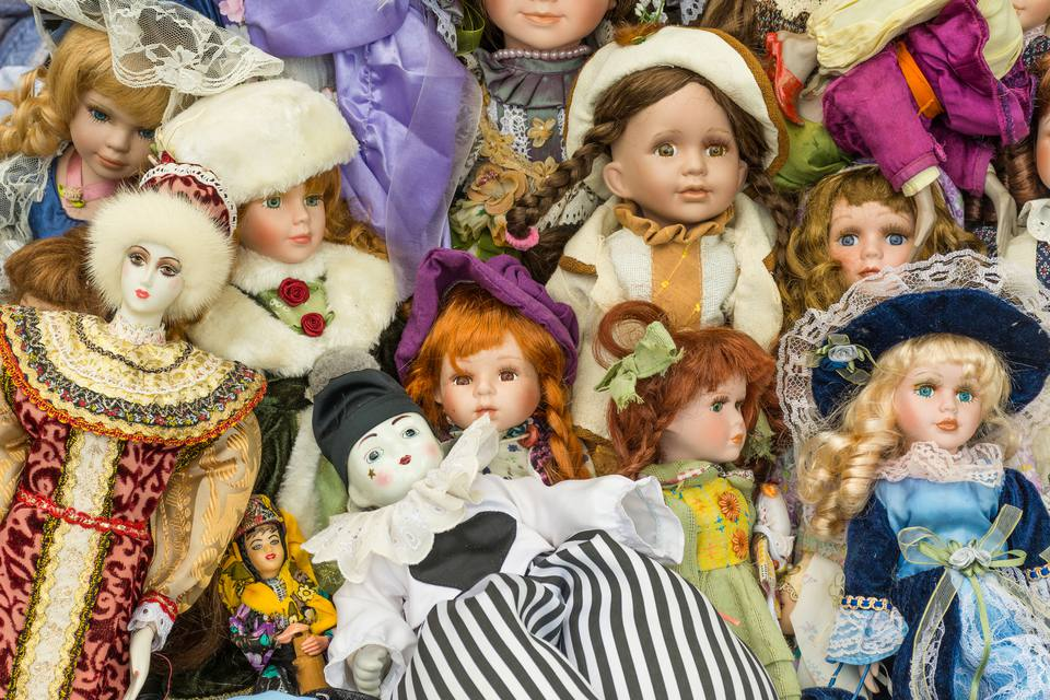 showcase of different types of dolls