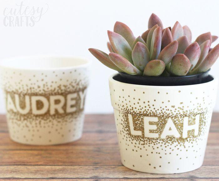 diy personalized flower pots