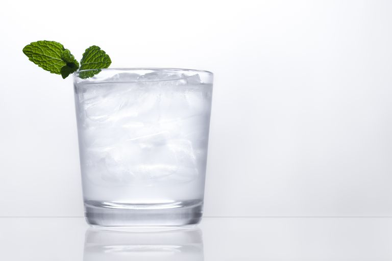 vodka on ice with garnish