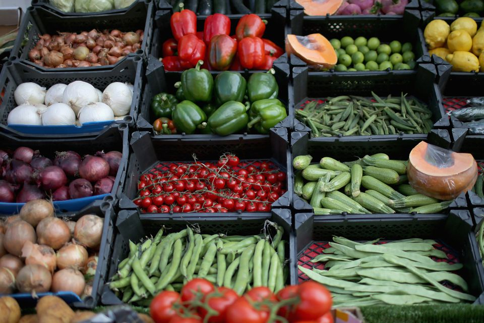 Fruits and vegetables on display.